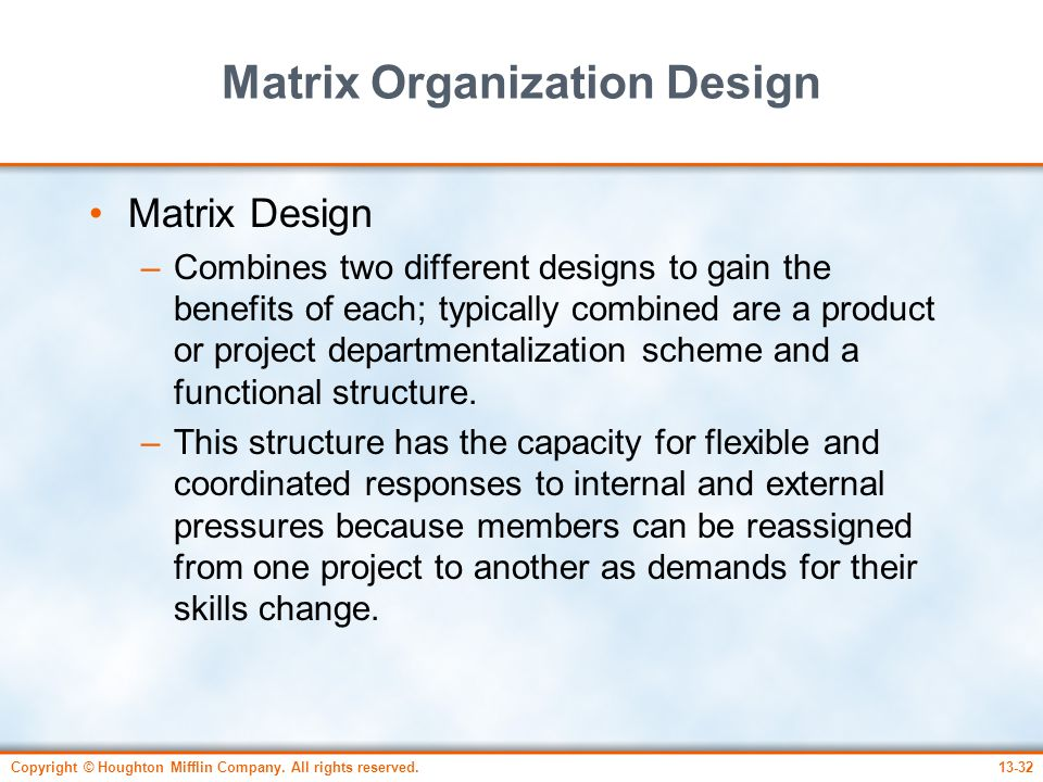 Matrix Organization Design