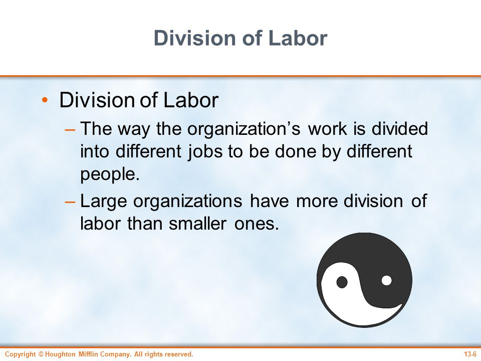 Division of Labor Division of Labor