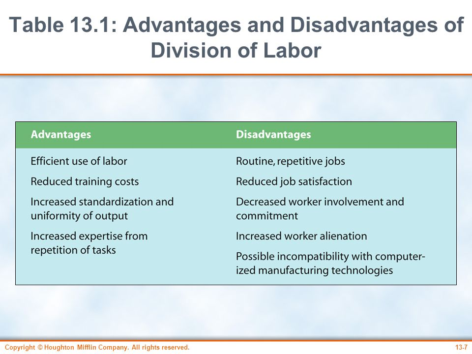 Table 13.1: Advantages and Disadvantages of Division of Labor