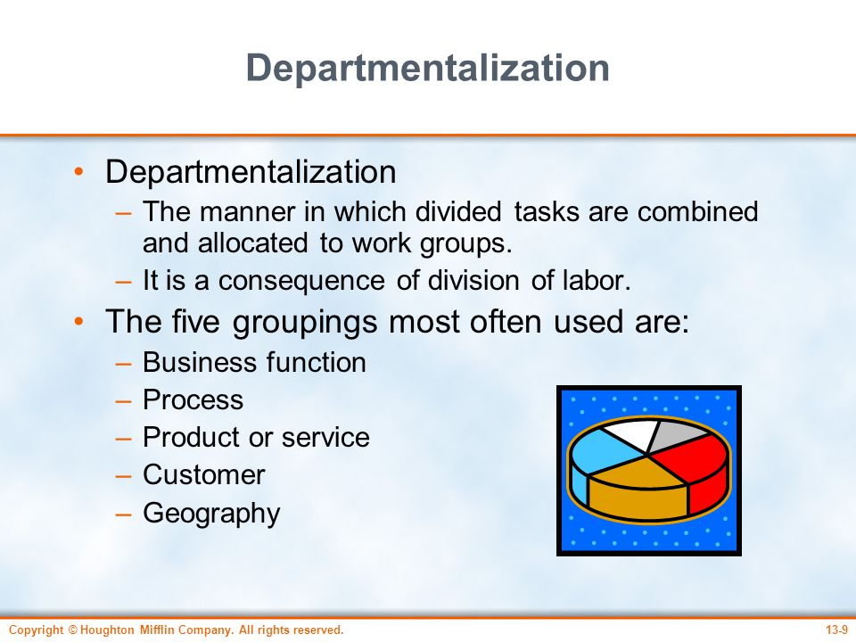 Departmentalization Departmentalization