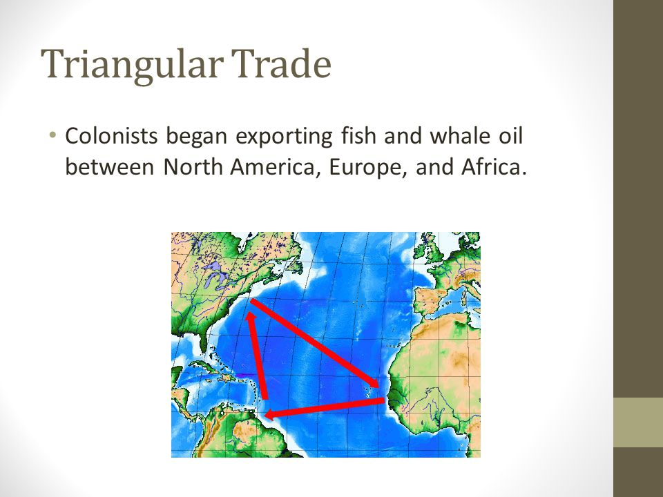 Triangular Trade Colonists began exporting fish and whale oil between North America, Europe, and Africa.