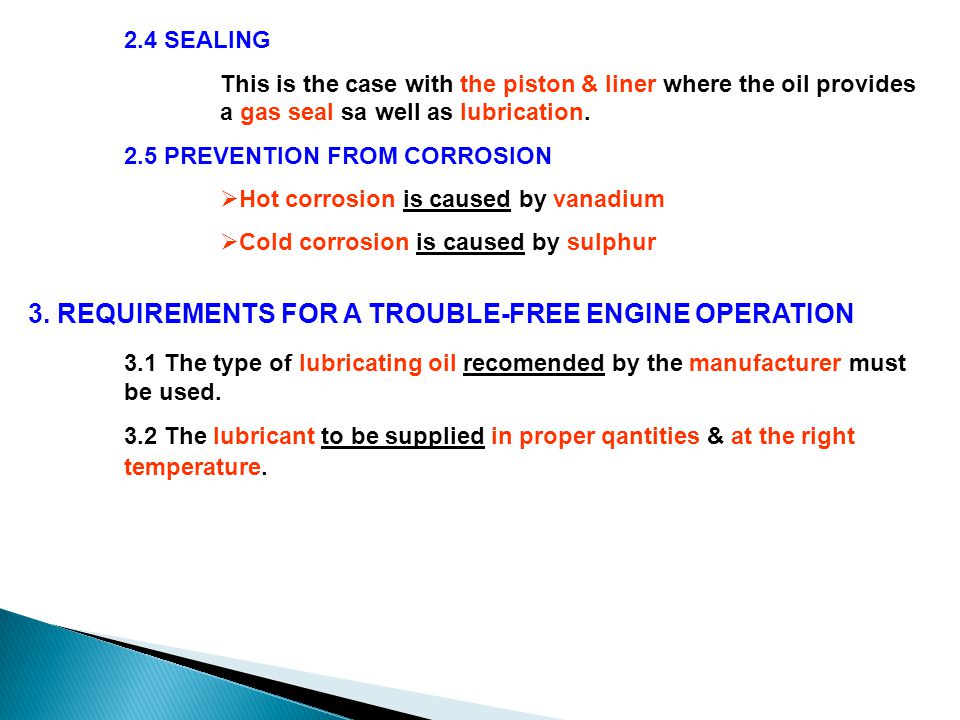 3. REQUIREMENTS FOR A TROUBLE-FREE ENGINE OPERATION