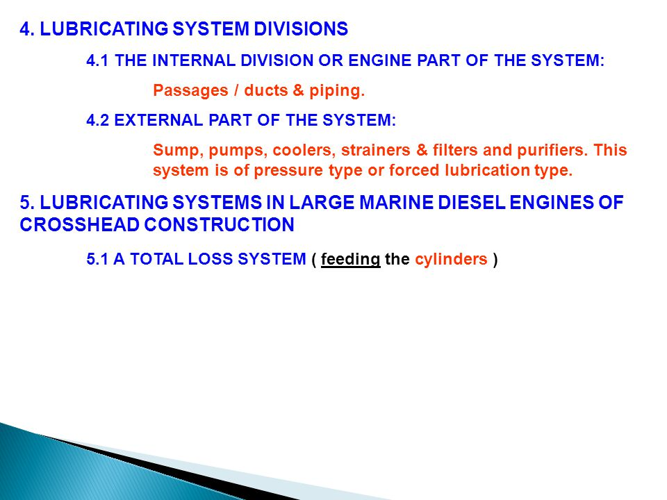 4. LUBRICATING SYSTEM DIVISIONS