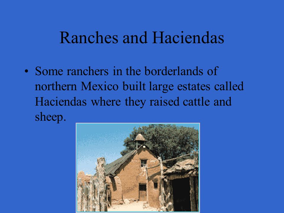 Ranches and Haciendas Some ranchers in the borderlands of northern Mexico built large estates called Haciendas where they raised cattle and sheep.