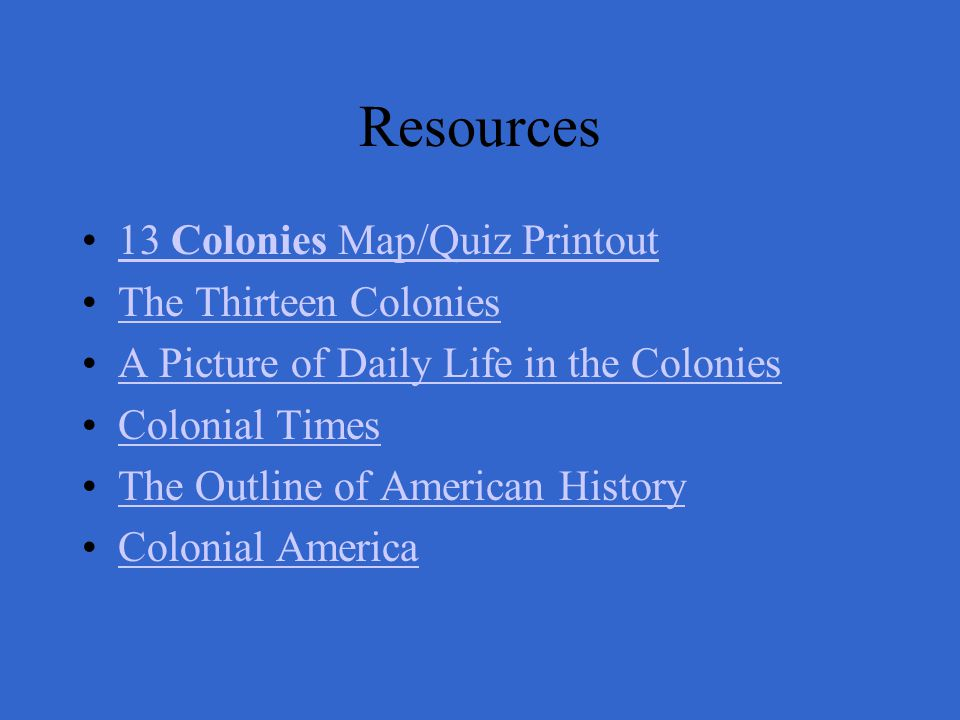 Resources 13 Colonies Map/Quiz Printout The Thirteen Colonies