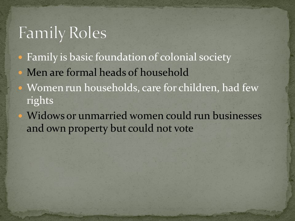 Family Roles Family is basic foundation of colonial society