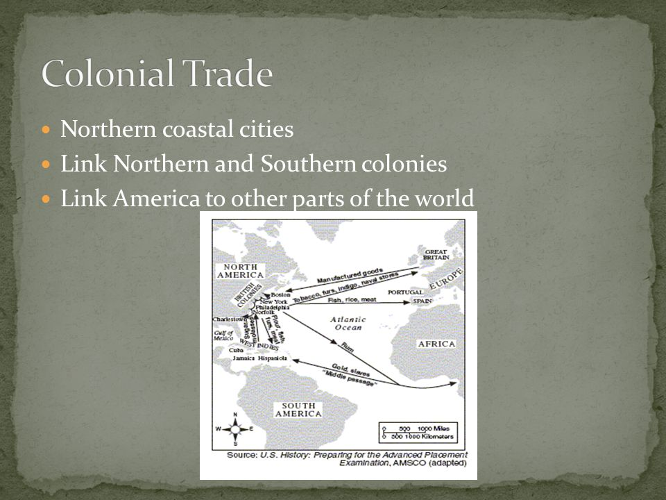 Colonial Trade Northern coastal cities