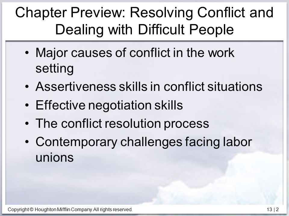 Chapter Preview: Resolving Conflict and Dealing with Difficult People