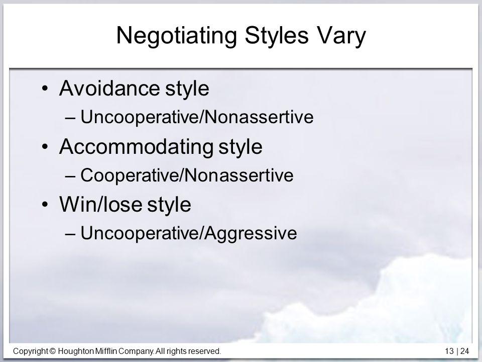 Negotiating Styles Vary
