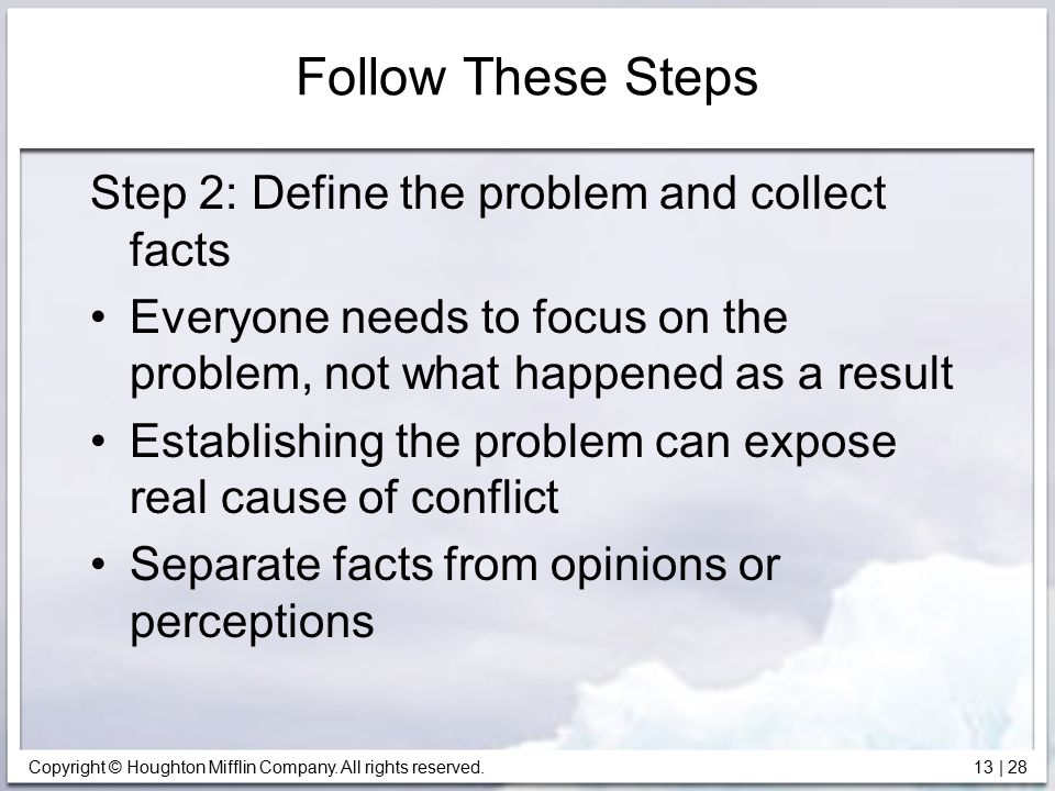 Follow These Steps Step 2: Define the problem and collect facts