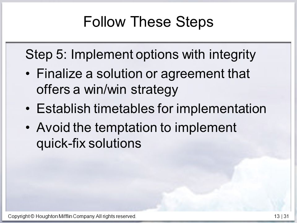 Follow These Steps Step 5: Implement options with integrity
