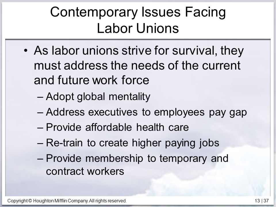 Contemporary Issues Facing Labor Unions