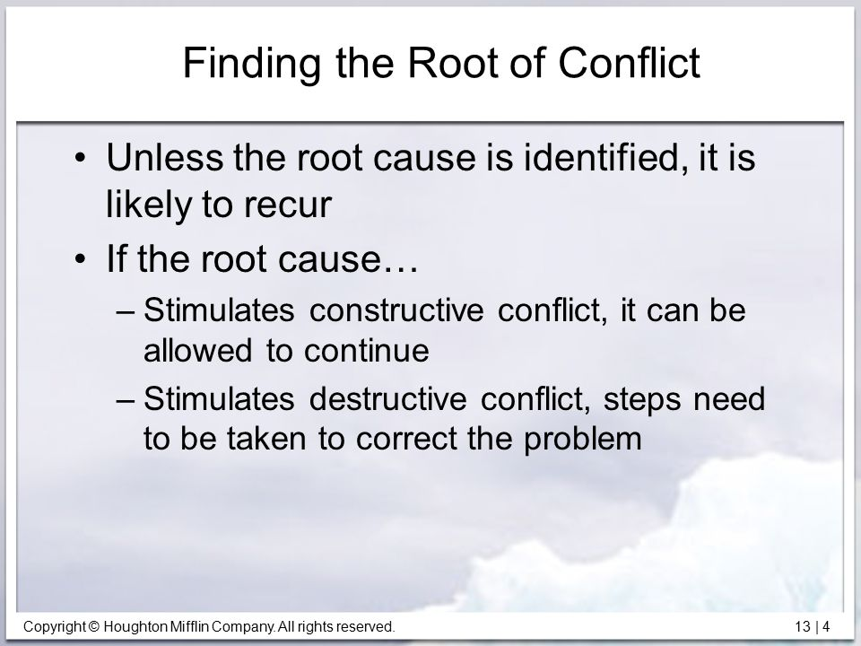 Finding the Root of Conflict