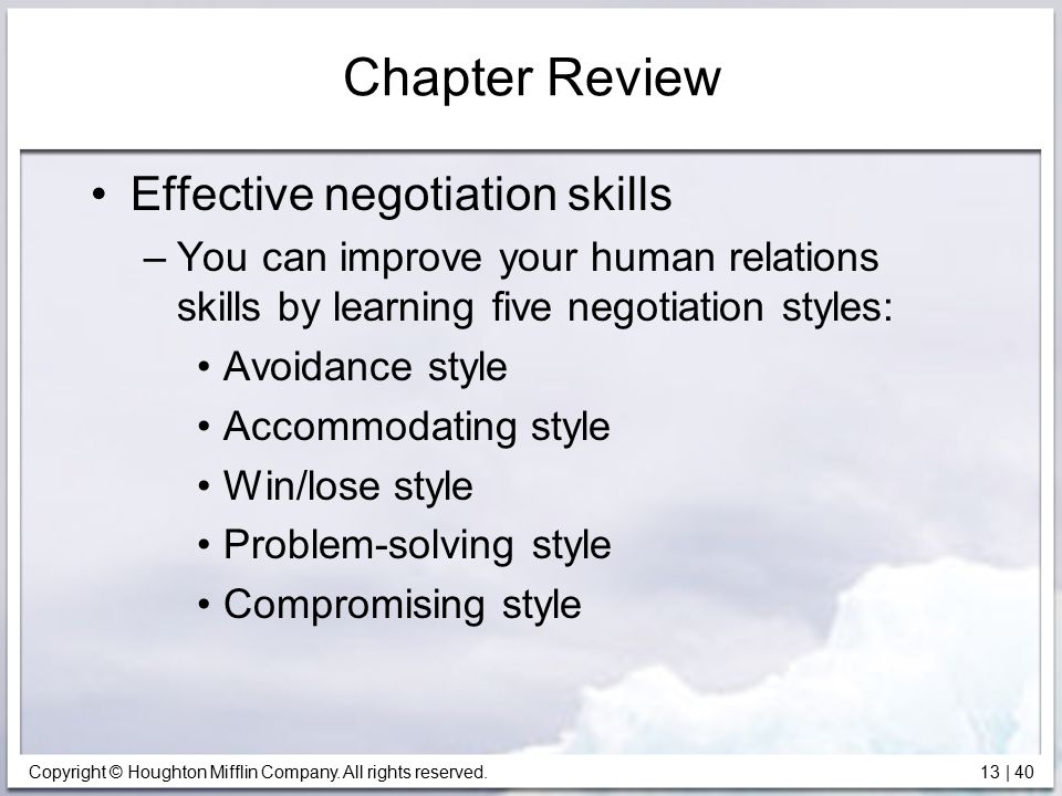Chapter Review Effective negotiation skills