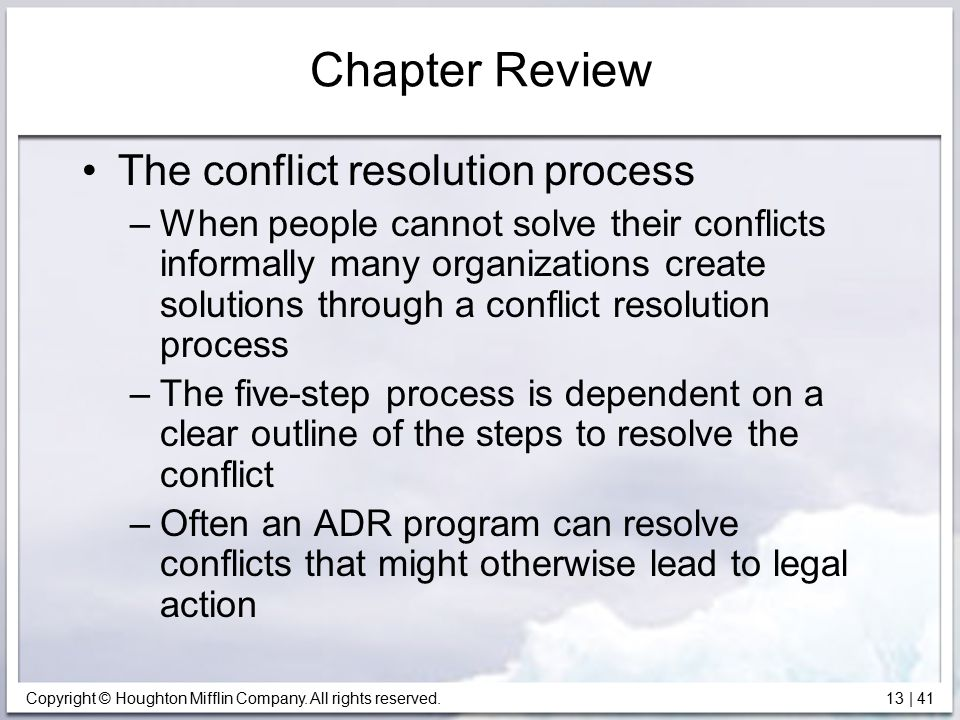 Chapter Review The conflict resolution process