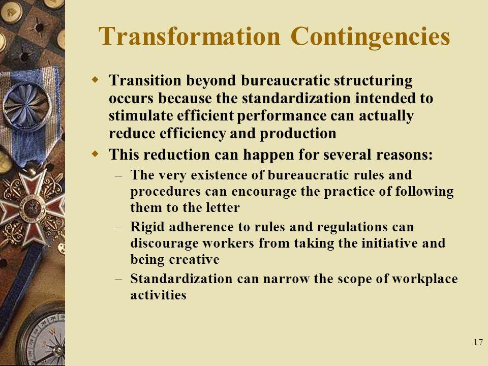Transformation Contingencies
