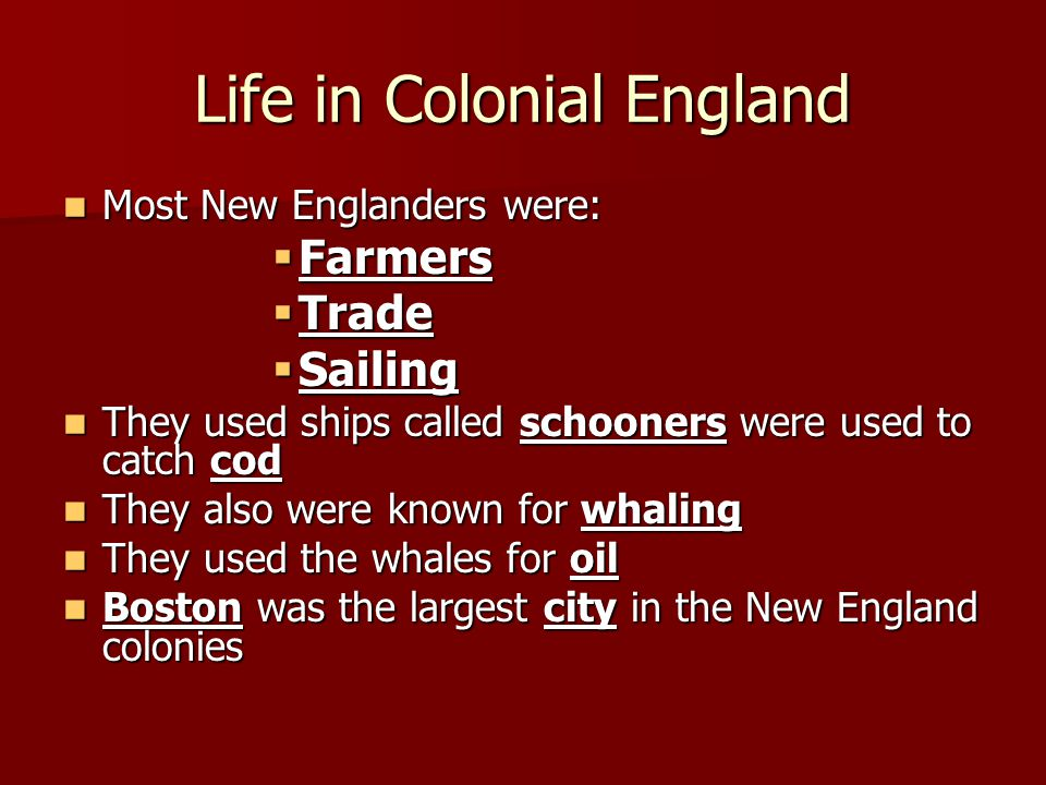 Life in Colonial England