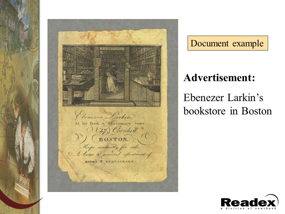 Ebenezer Larkin's bookstore in Boston