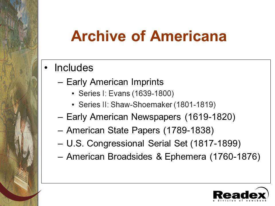 Archive of Americana Includes Early American Imprints