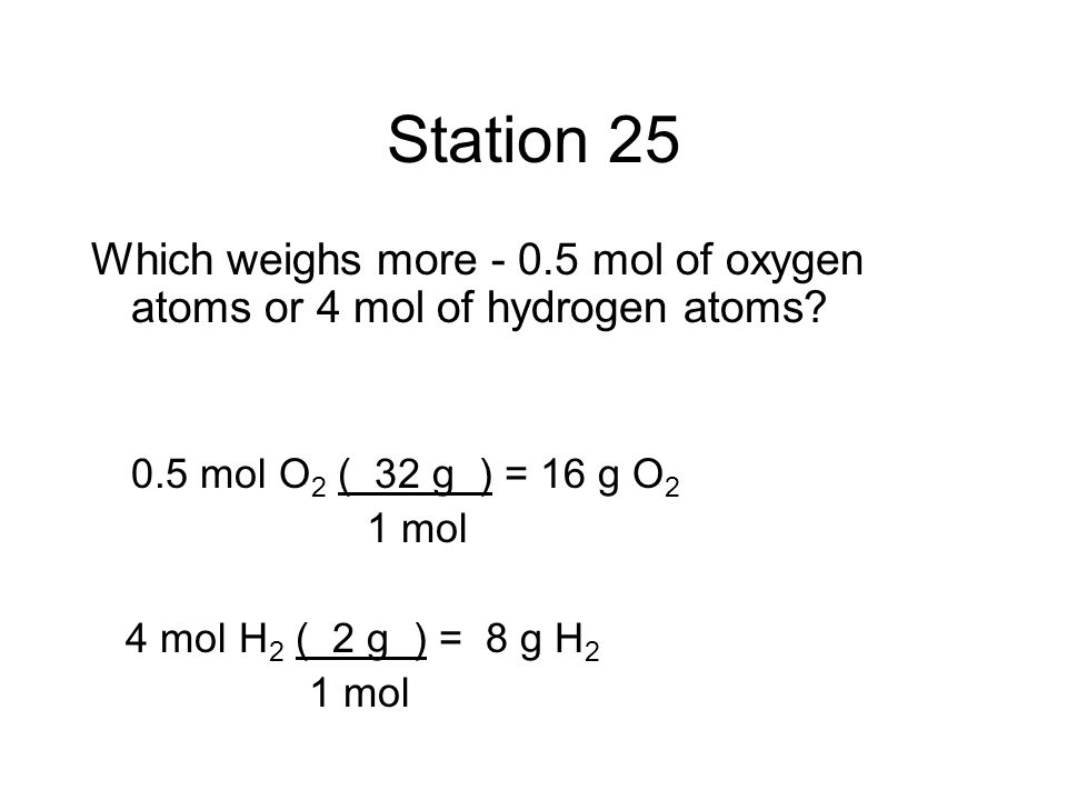 Station 25 Which weighs more - 0.5 mol of oxygen atoms or 4 mol of hydrogen atoms 0.5 mol O2 ( 32 g ) = 16 g O2.