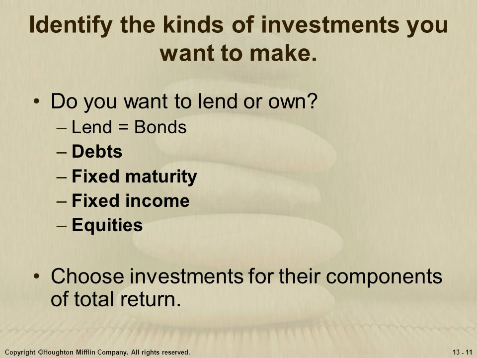Identify the kinds of investments you want to make.