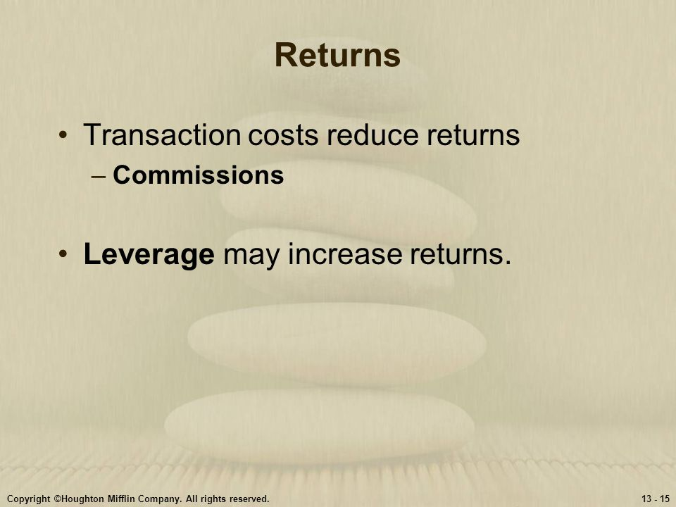 Returns Transaction costs reduce returns