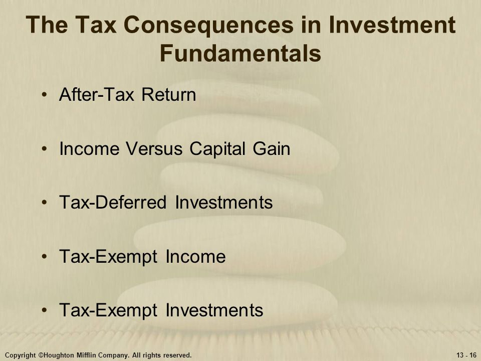 The Tax Consequences in Investment Fundamentals