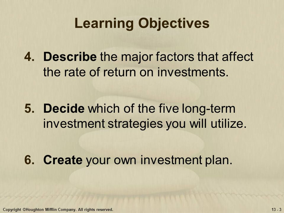 Learning Objectives Describe the major factors that affect the rate of return on investments.