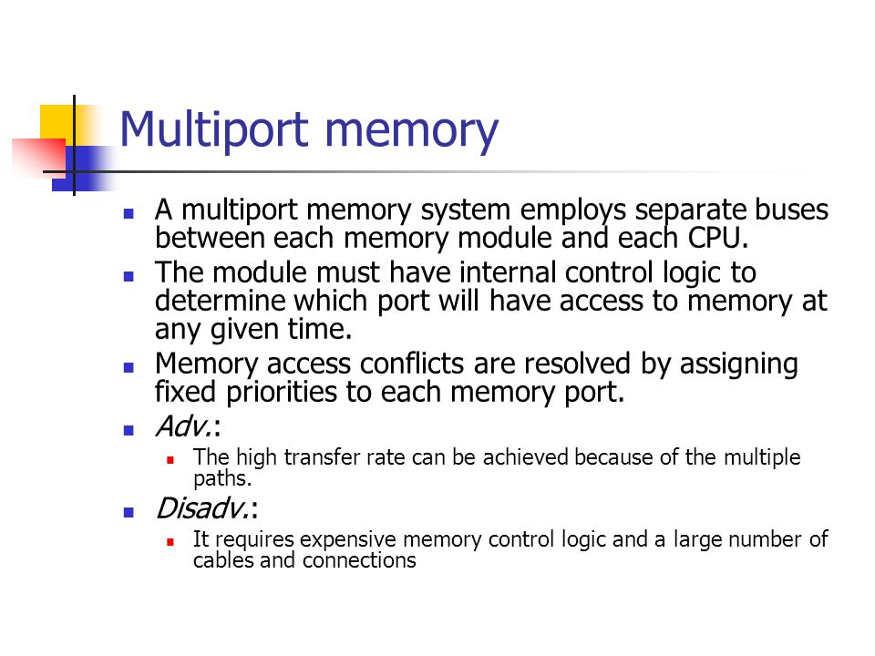 Multiport memory A multiport memory system employs separate buses between each memory module and each CPU.