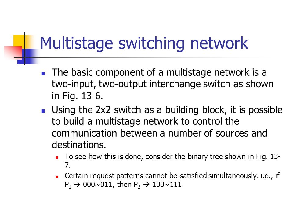 Multistage switching network