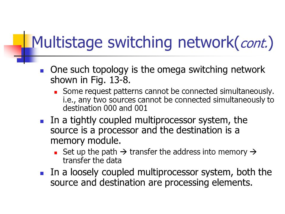 Multistage switching network(cont.)