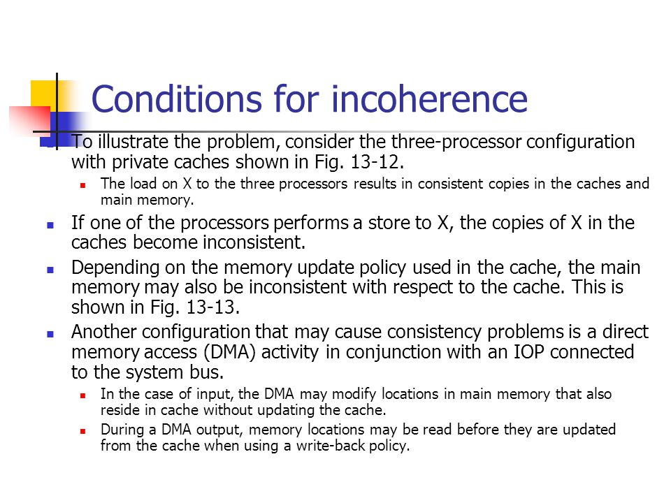 Conditions for incoherence