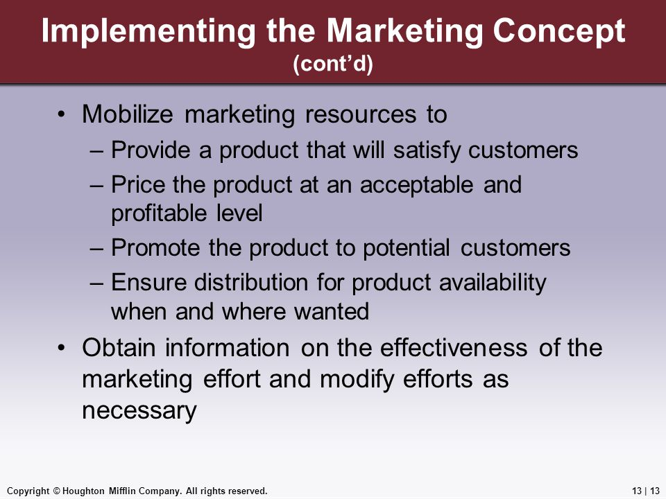Implementing the Marketing Concept (cont'd)