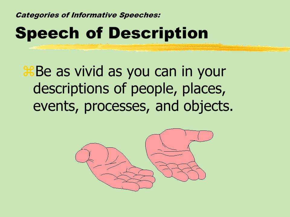 Categories of Informative Speeches: Speech of Description