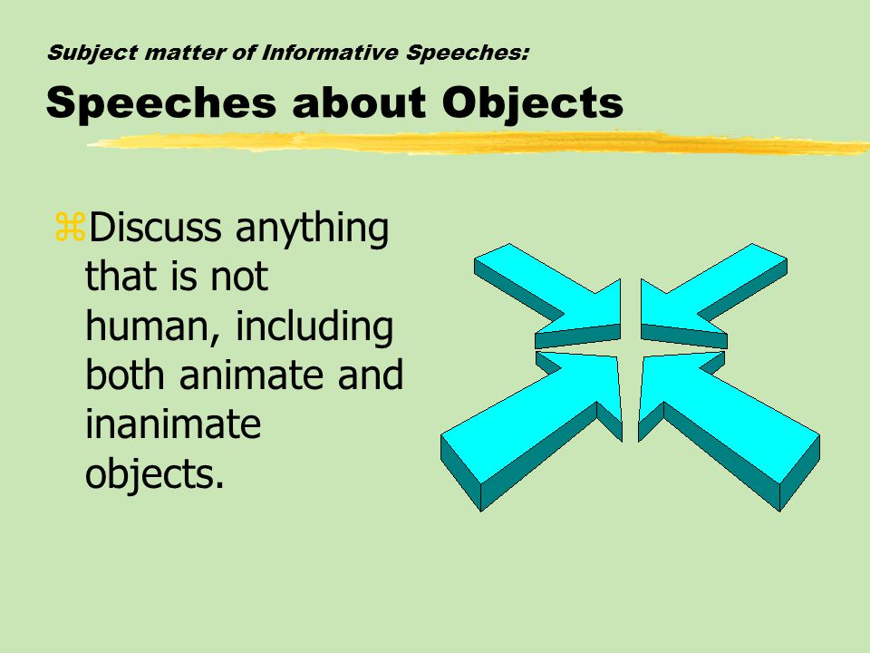 Subject matter of Informative Speeches: Speeches about Objects
