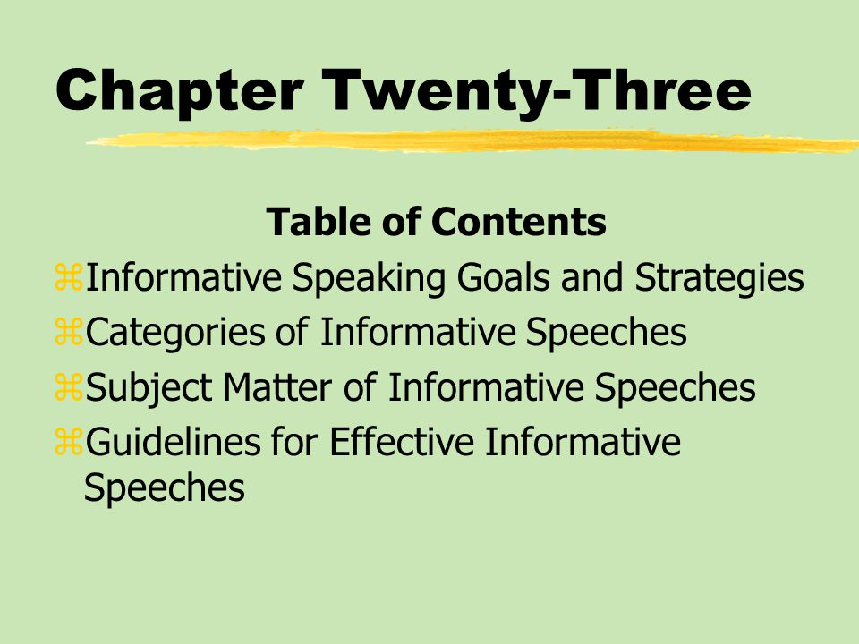 Chapter Twenty-Three Table of Contents