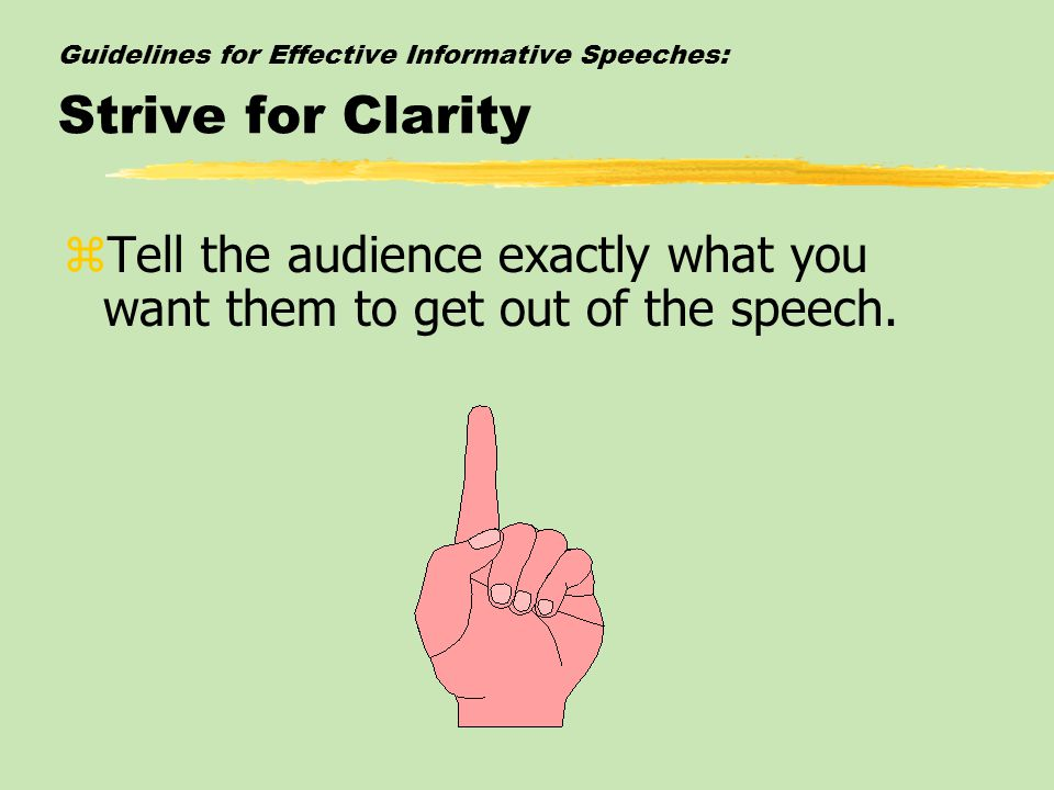 Guidelines for Effective Informative Speeches: Strive for Clarity