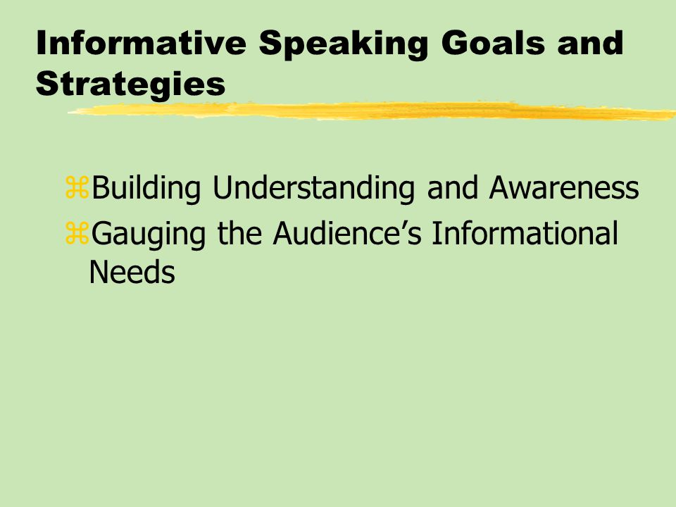 Informative Speaking Goals and Strategies