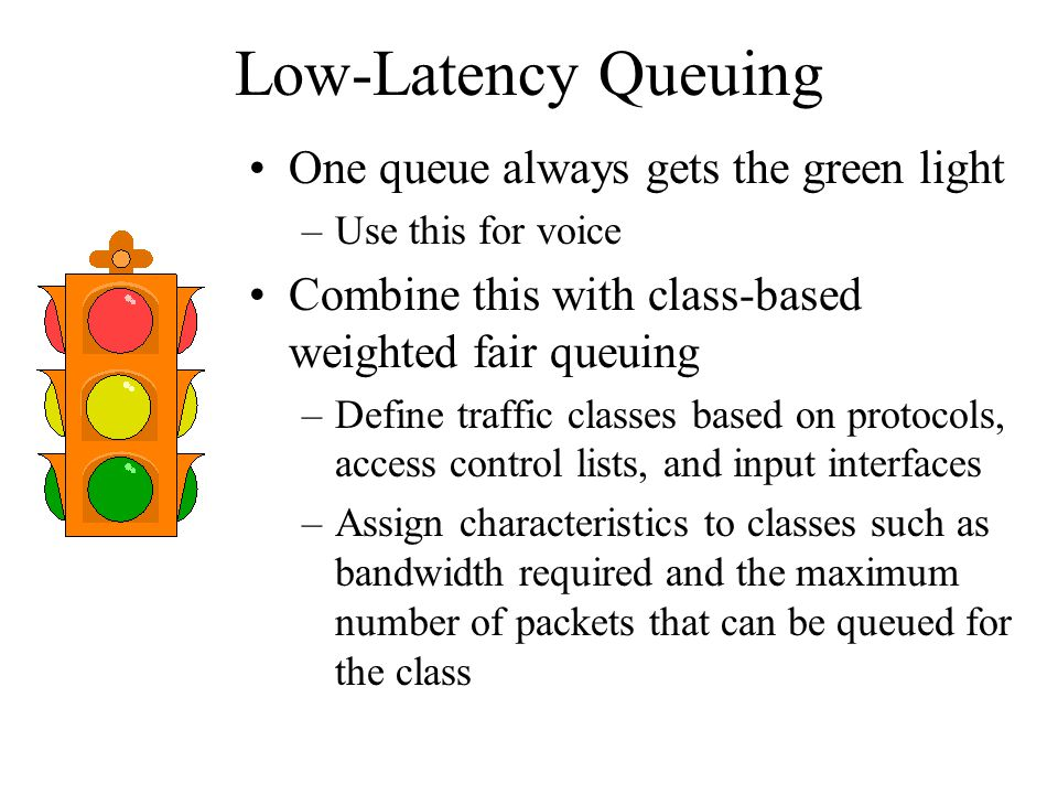 Low-Latency Queuing One queue always gets the green light