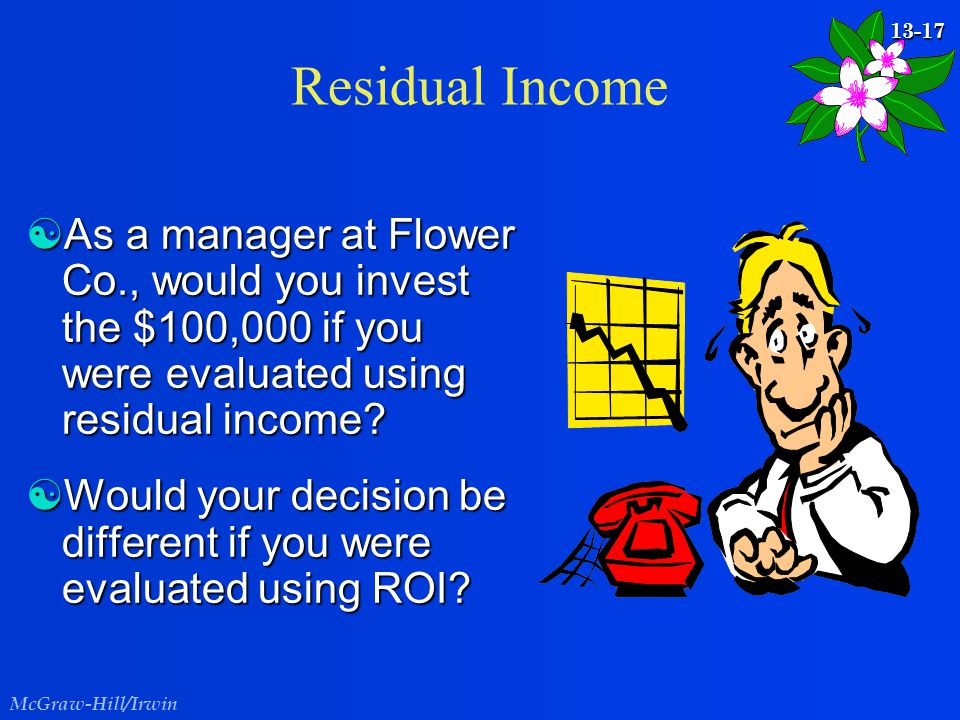 Residual Income As a manager at Flower Co., would you invest the $100,000 if you were evaluated using residual income