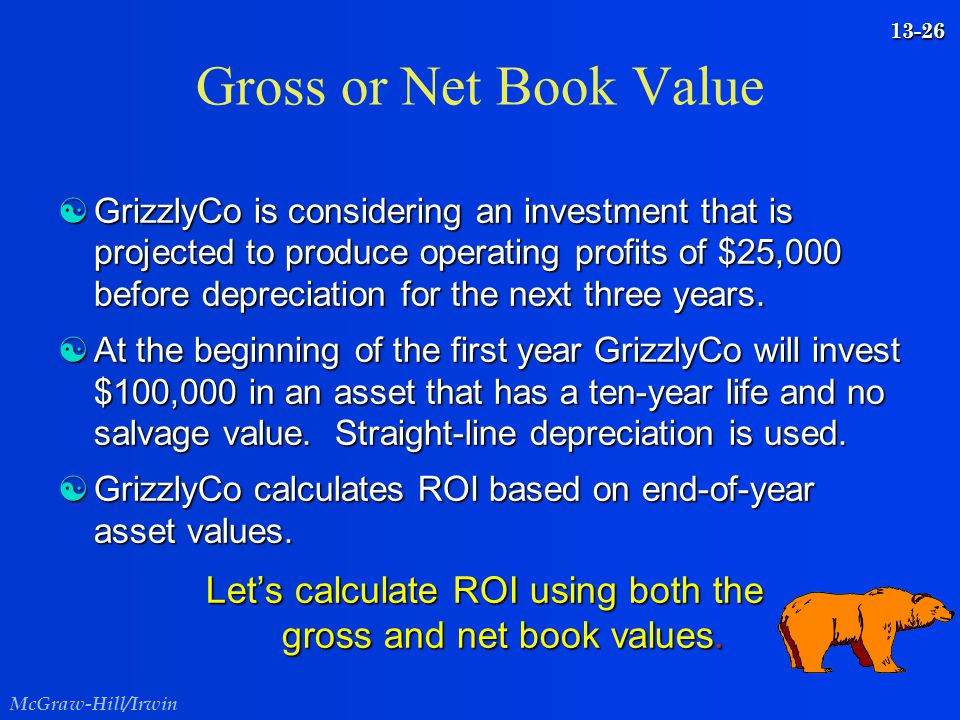 Let's calculate ROI using both the gross and net book values.
