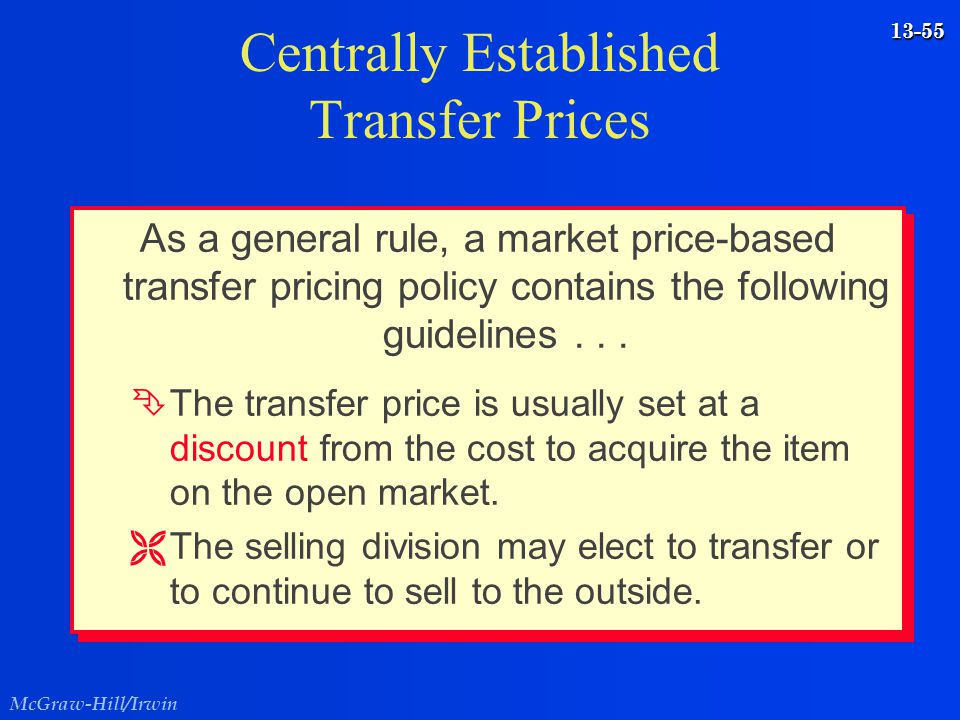 Centrally Established Transfer Prices