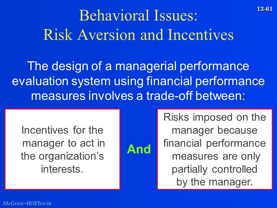 Behavioral Issues: Risk Aversion and Incentives