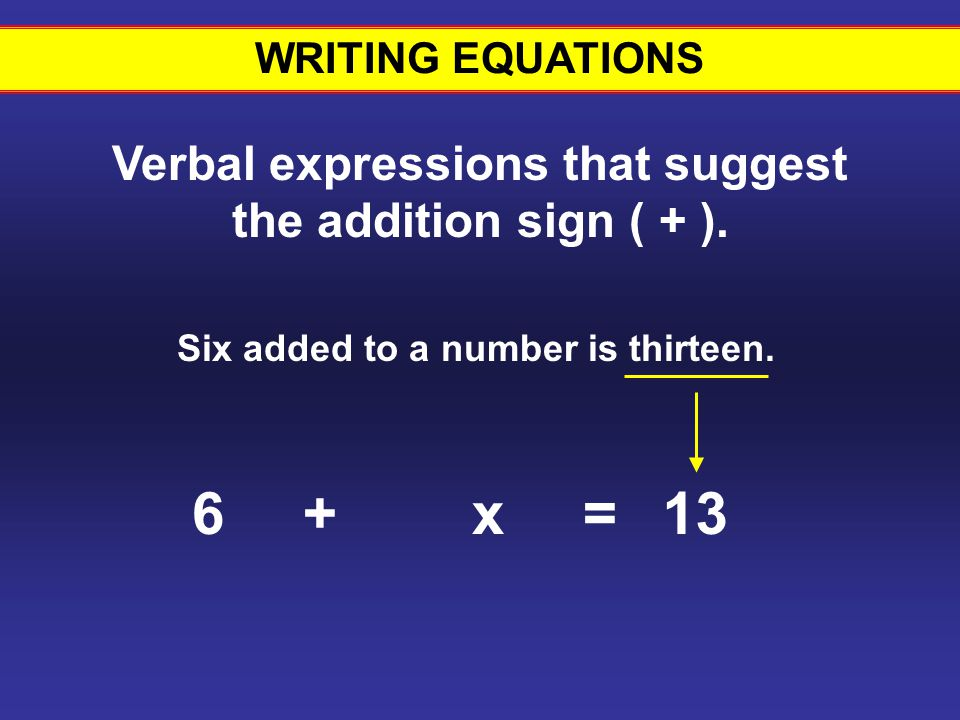 6 + x = 13 Writing equations #9