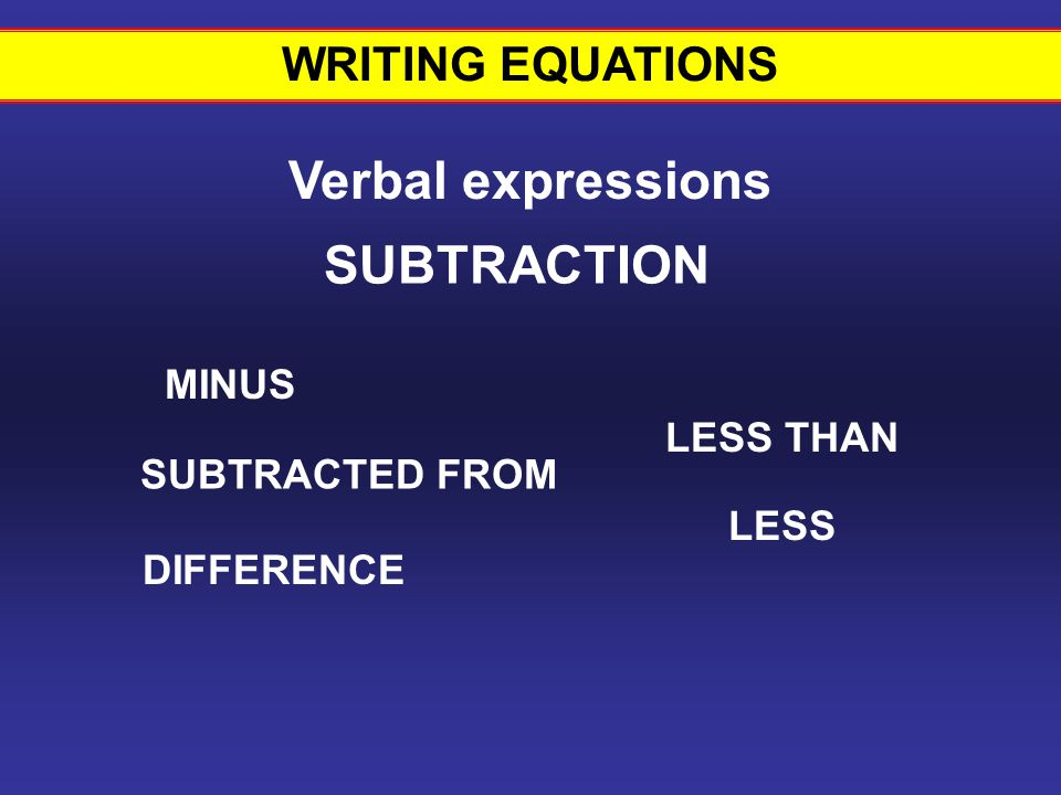 Writing equations #10 Verbal expressions SUBTRACTION WRITING EQUATIONS