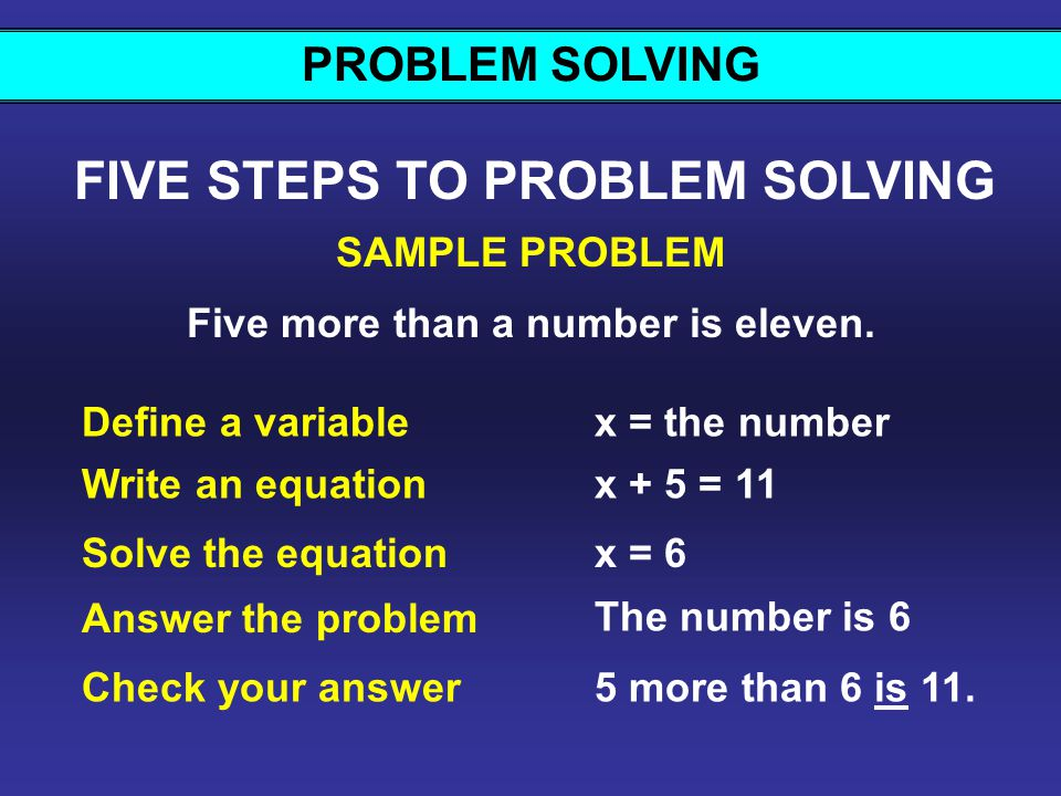FIVE STEPS TO PROBLEM SOLVING Five more than a number is eleven.
