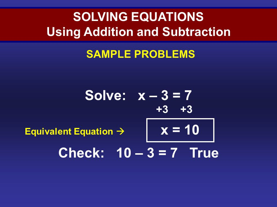 Solving Equations (Sample 1)