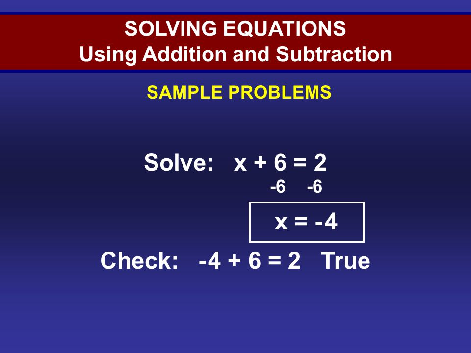 Solving Equations (Sample 2)