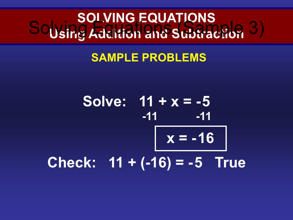 Solving Equations (Sample 3)