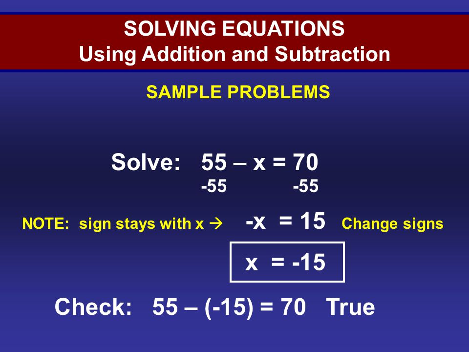 Solving Equations (Sample 4)